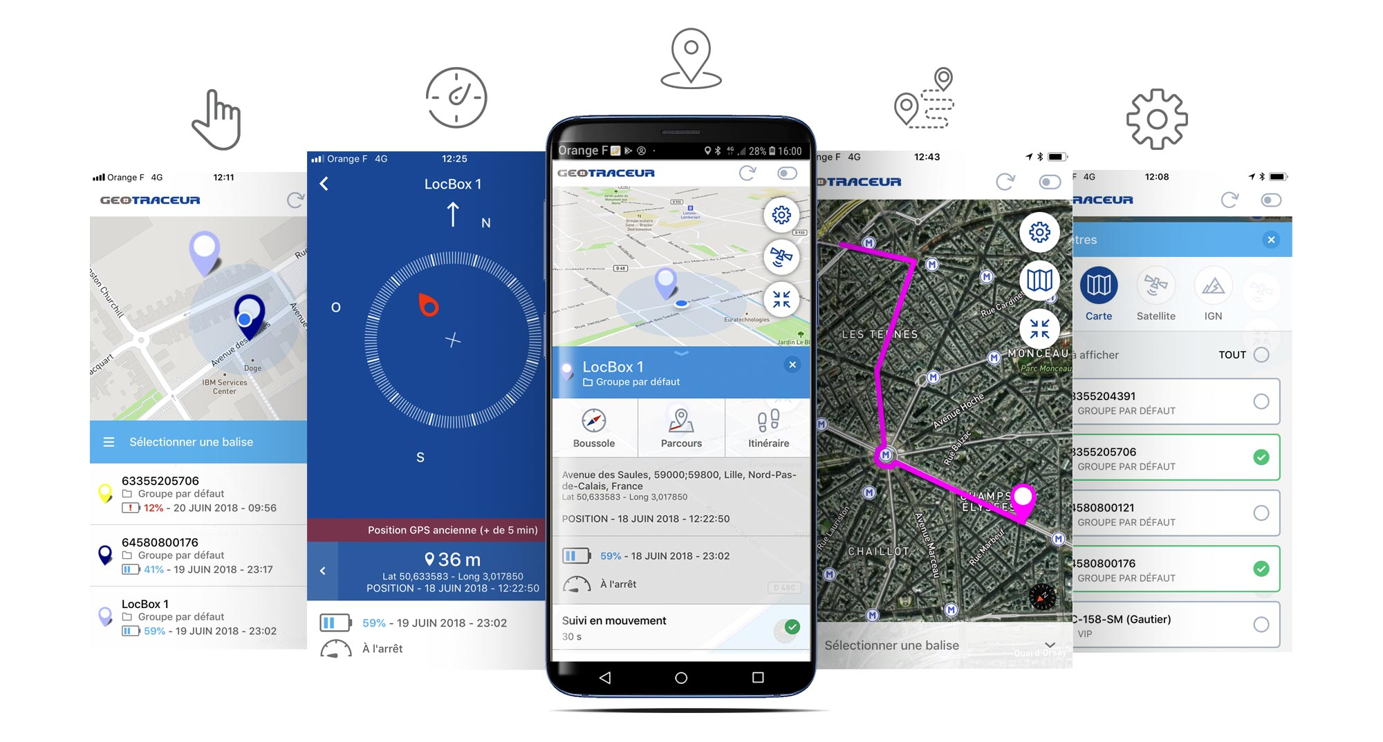 Application mobile GEOTRACEUR pour traceur GPS - smartphone - Android - iOS